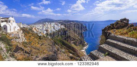 panorama of Santorini - view with caldera
