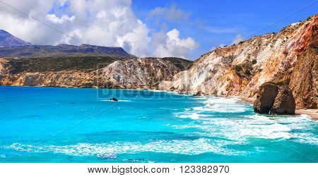 beautiful azure beaches of Greece - Fyriplaka, Milos island
