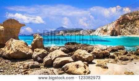 beautiful turquoise beaches of Greece - Fyriplaka, Milos island