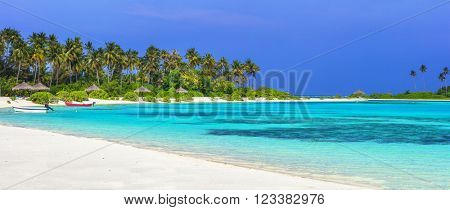 panorama of tropical beach in Maldives islands
