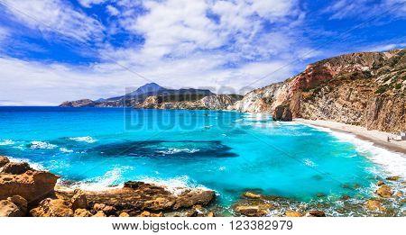 beautiful azure beaches of Greece - Fyriplaka, Milos island