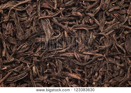 The surface of the black tea. Photographed close-up.