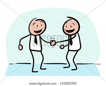Business Agreement, a hand drawn vector doodle illustration of two businessman in a partnership agreement.