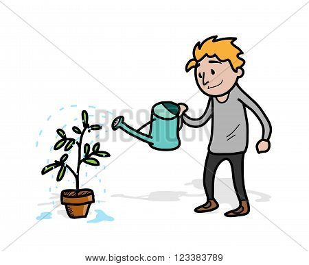Watering the Vegetation Plant, a hand drawn vector illustration of a man, watering his vegetation plant (each objects on separate groups for easy editing)