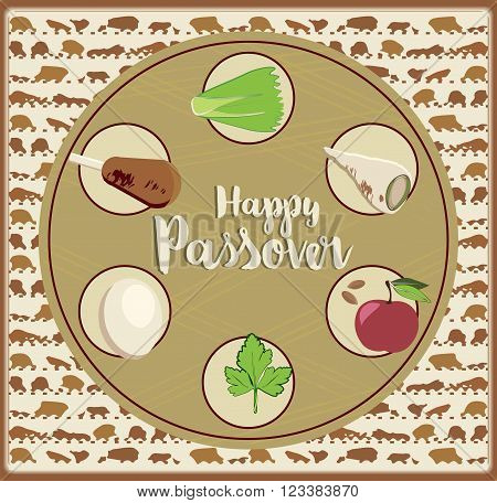 Passover Greeting card design vector template. Jewish Spring holiday greeting card / poster. Matzo pattern background traditional Passover Seder Table treats. Layered editable