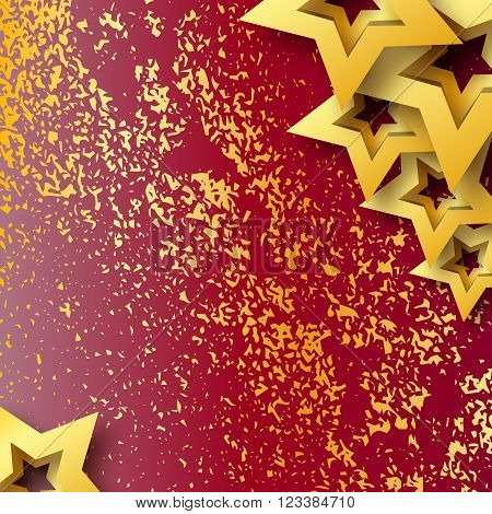 Abstract Origami Gold Stars on red vector background. Cosmic falling shining stars. Trendy Illustration for design