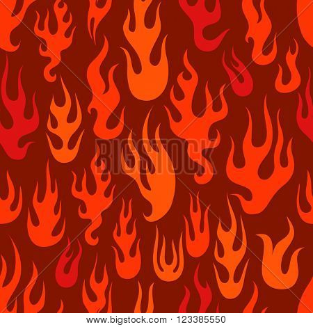 Different abstract flame silhouettes seamless pattern