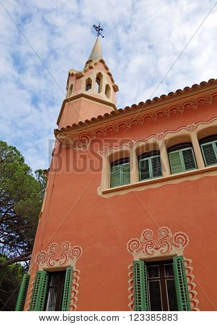 BARCELONA, SPAIN - JULY 31, 2015: View of Antoni Gaudi House Museum. This house is one of the famous museum in Park Guell in Barcelona.