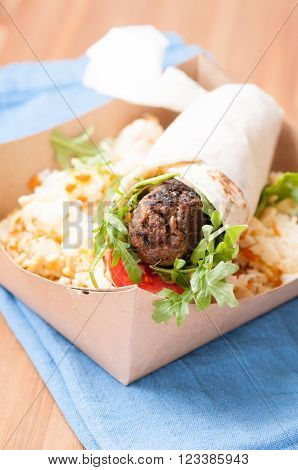 lamb wrap with home made pita and sweet rice