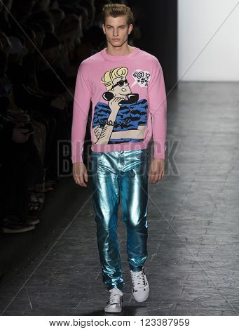 New York City USA - February 15 2016: Benjamin Benedek walks the runway during the Jeremy Scott Women's show as a part of Fall 2016 New York Fashion Week
