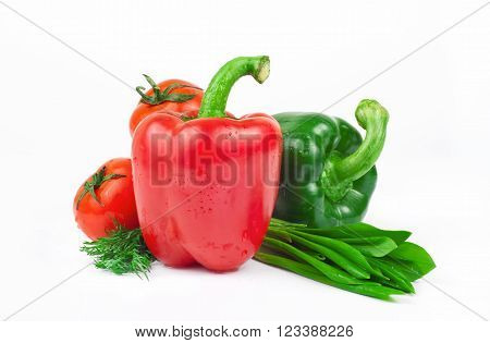 wet, fresh vegetables, sweet red and green peppers, tomatoes, dill and ramson on a white background