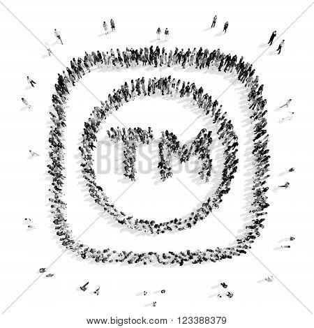A group of people in the shape of a trade mark, a flash mob.3D illustration.black and white