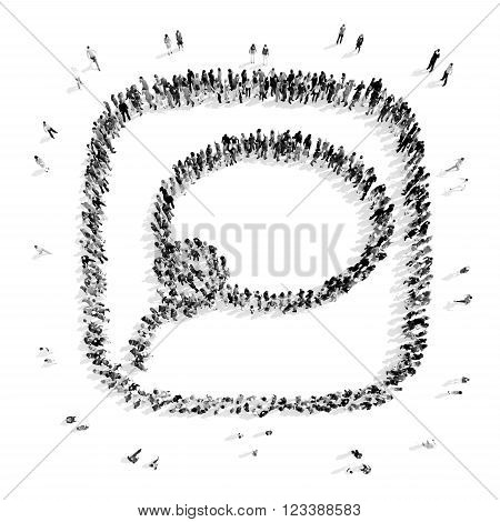 A group of people in the shape of a buble chat , lasso , a flash mob.3D illustration.black and white