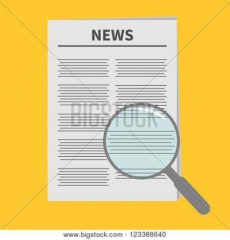 Newspaper icon Optic glass instrument Magnifier Search Flat design Isolated Yellow background Vector illustration