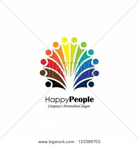Lively Happy Excited People Friends Logo Concept Vector Icon.