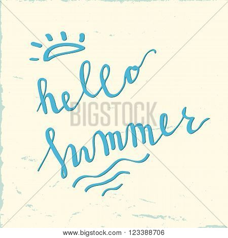 Hello summer simple hand lettering card. Blue hello summer on white background.
