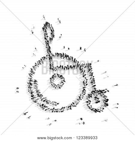 A group of people in the shape of disability, a flash mob.3D illustration.black and white