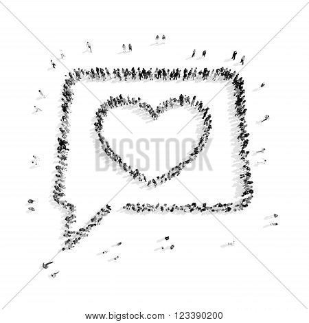 A group of people in the shape of a buble chat, a flash mob.3D illustration.black and white