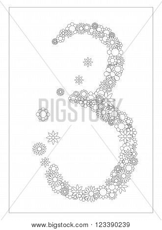 Floral number 3, number three from flowers coloring page vector illustration, DIY postcard with the place for text, black and white flower ornament for typography