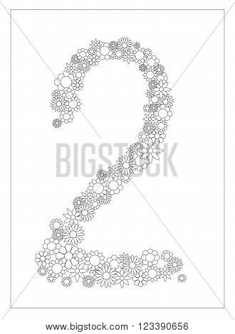 Floral number 2, number two from flowers coloring page vector illustration, DIY postcard with the place for text, black and white flower ornament for typography