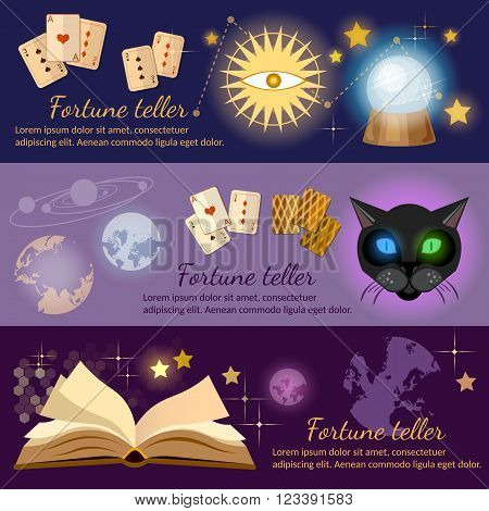 Astrology and alchemy banners alchemy magic open book fortune telling