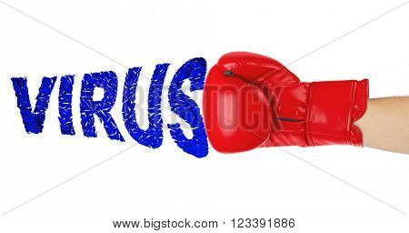 Boxing glove and word Virus isolated on white background