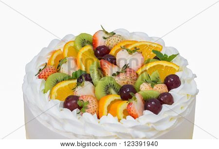 Close Up Of Fruit Short Cake Isolated On White With Clipping Path