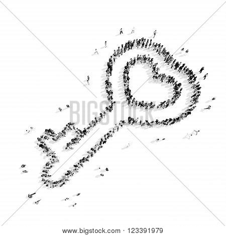 A group of people in the shape of a key, heart, flash mob.3D illustration.black and white