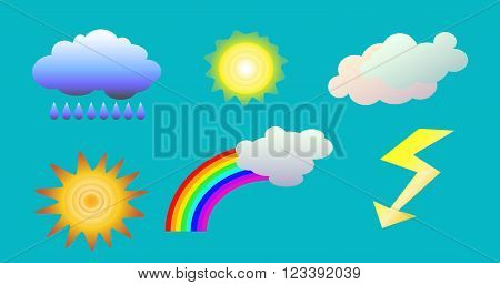 Weather objects isolated vector clip art. illustration of clouds, sun, rainbow, rain and flash for weather forecast, on blue background