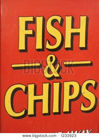 Fish & Chips Sign Beside The Seaside