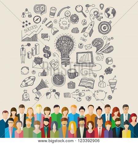 Concept of team work. The crowd of abstract people and hand drawn symbols. Flat design, vector illustration.