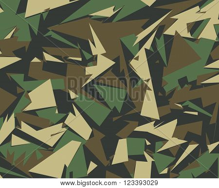 Abstract Military Camouflage Background. Camo Pattern of Geometric Triangles Shapes for Army Clothing.