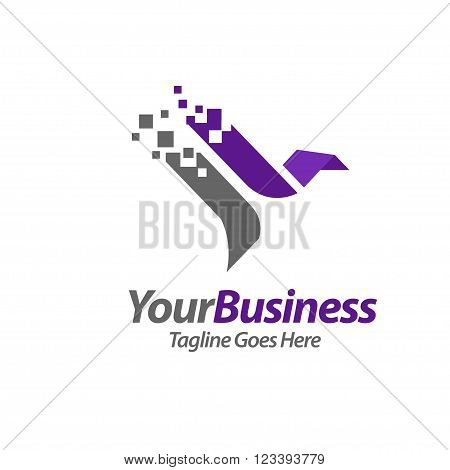 abstract illustration of eagle,falcon, bird technology logo concept