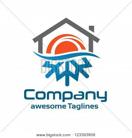 Hot And Cold Symbol with roofing logo