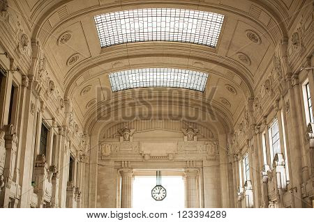 Milan-Italy, June 13, 2015.Interior of Milano Centrale which is the main railway station of Milan Italy and one of the main railway stations in Europe.