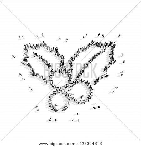 A group of people in the shape of a mountain ash, winter, flash mob.3D illustration.black and white