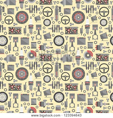 Auto spare parts seamless pattern. Car repair icons background. Vector illustration EPS10.