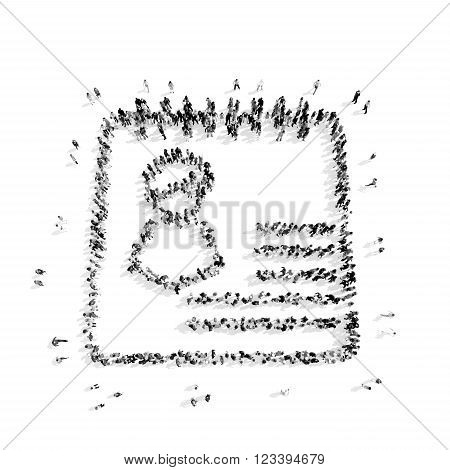 A group of people in the shape of a questionnaire, medicine, flash mob.3D illustration.black and white