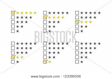 Rating stars set. Stars rating template. Stars checklist rating collection. Vector illustration.
