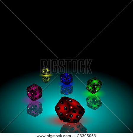 Vector illustration of dice, gambling, game, dice