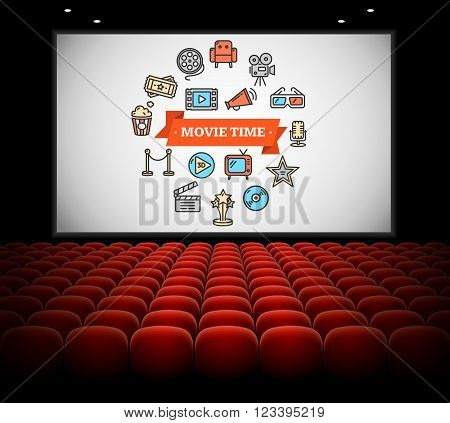 Cinema Concept. Movie time on Screen. Vector illustration