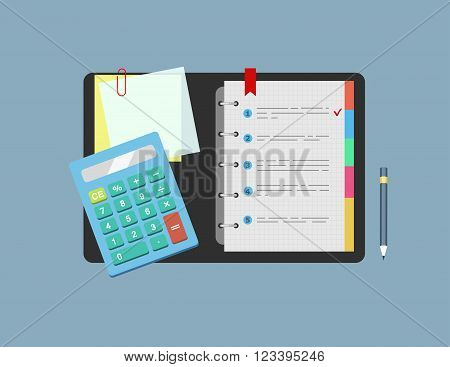 Calculator, notepad, note paper and pencil lie on the table.  Concept of planning and analysis. Vector illustration