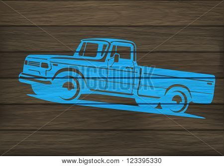 Pickup Truck Silhouette On Wood
