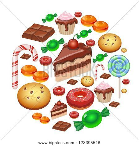Assorted sweets colorful background with chocolate Lollipops, cake, cookies candies and donut   Sweet shop.