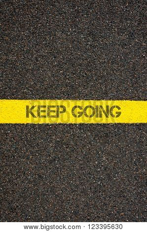Road Marking Yellow Line With Words Keep Going