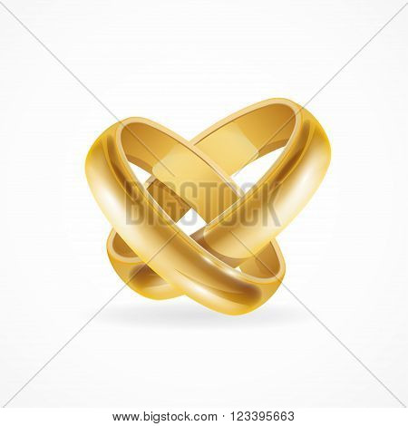 Shiny Wedding Gold Rings. Symbol of Love and Wedding. Vector illustration