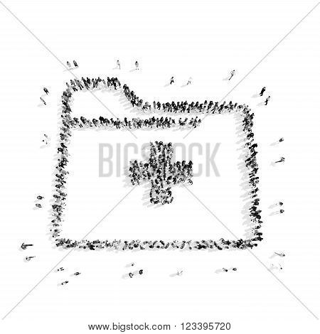 A group of people in the shape of a first aid kit, medicine, flashmob.3D illustration.black and white