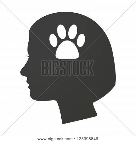 Isoalted Female Head Icon With An Animal Footprint
