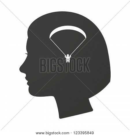 Isoalted Female Head Icon With A Paraglider