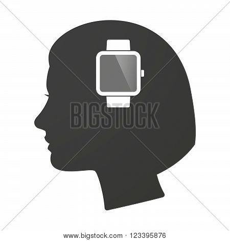 Isoalted Female Head Icon With A Smart Watch